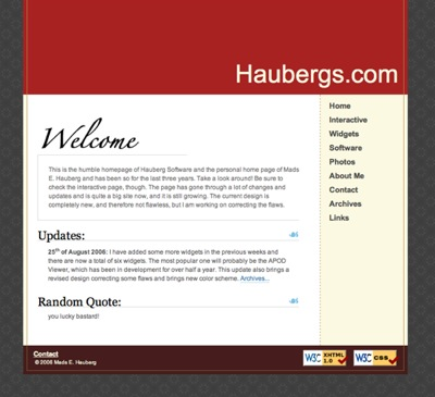 Screenshot of Haubergs.com from September 2006