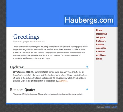 Screenshot of Haubergs.com from October 2009